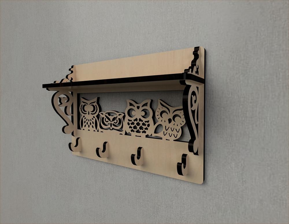 Laser Cut Owl Decor Wall Mounted Coat Rack Shelf Coat Hook Rack Entryway Shelf Free Vector
