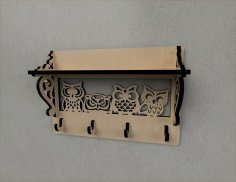 Laser Cut Owl Decor Wall Mounted Coat Rack Shelf Coat Hook Rack Entryway Shelf Free Vector