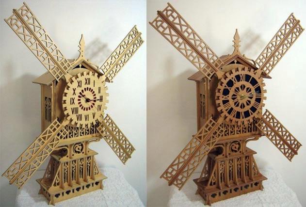 Laser Cut Vintage Wooden Clock Free Vector