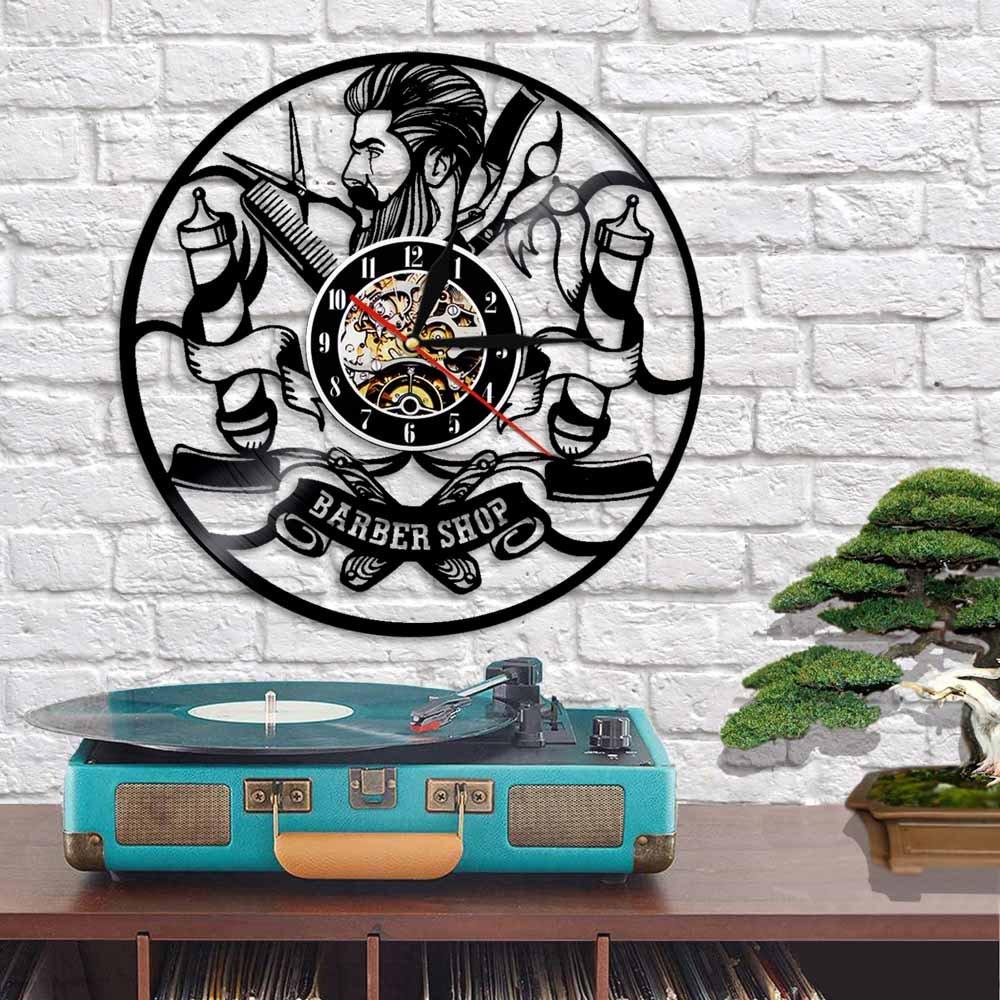 Laser Cut Hipster Hair Salon Vinyl Record Wall Clock Free Vector