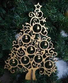 Laser Cut Wooden Christmas Tree Decorations Free Vector