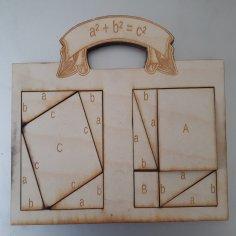 Laser Cut Pythagorean Theorem Puzzle SVG File