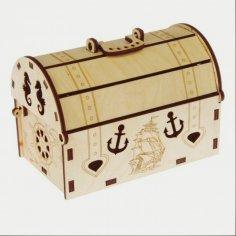 Laser Cut Treasure Chest Box Free Vector