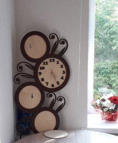 Laser Cut Floral Decorative Wall Clock Free Vector