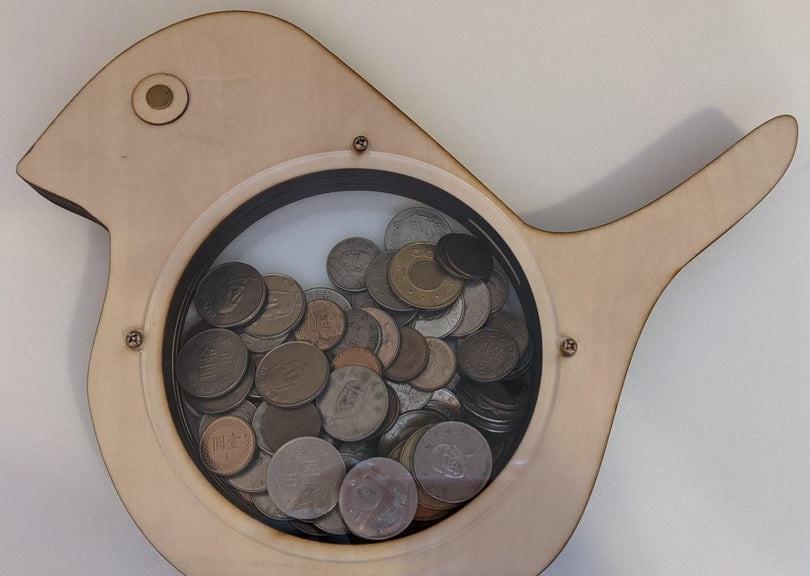 Laser Cut Cute Bird Money Box Coin Bank Piggy Bank For Kids Free Vector