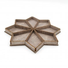 Laser Cut Wooden Octahedron Serving Tray With Sections Free Vector