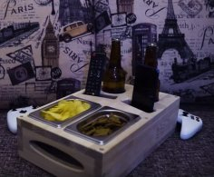 Laser Cut Couch Drink Holder TV Room Refreshment Tray DXF File