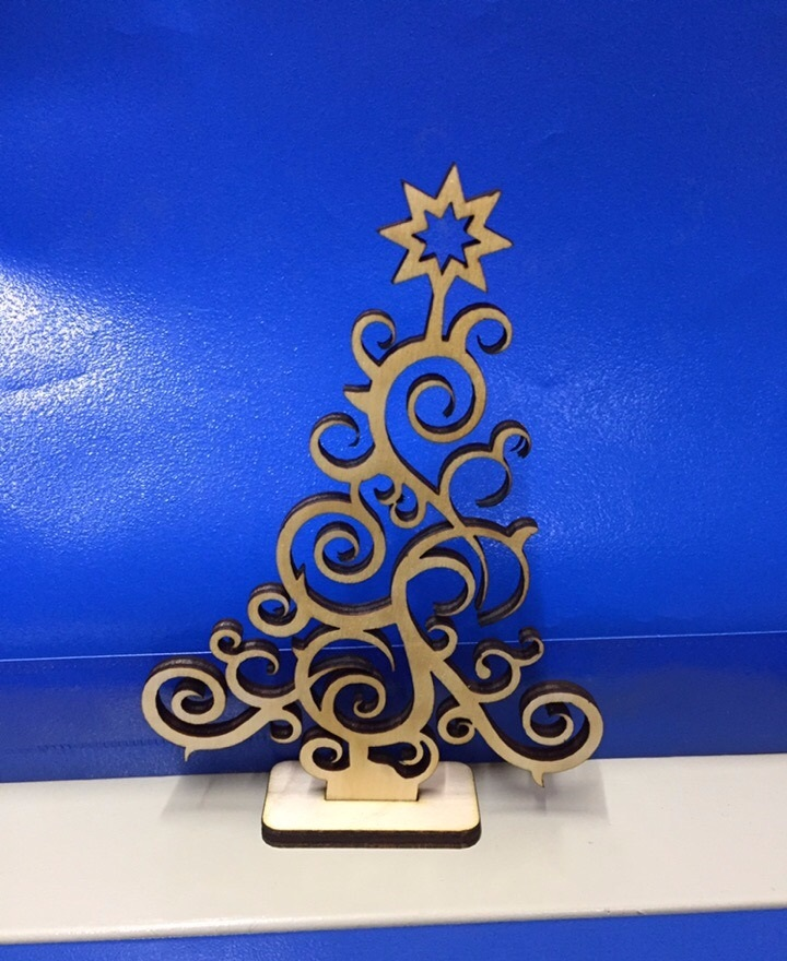 Laser Cut Plywood Christmas Tree 3mm Free Vector