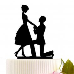 Laser Cut Kneel To Propose Wedding Cake Topper Free Vector