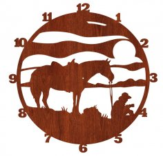 Laser Cut Cowboy Wall Clock Western Horse Clock Free Vector