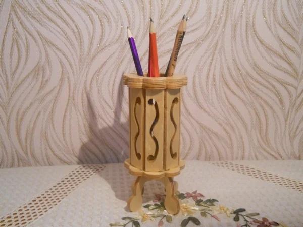 Laser Cut Wood Decorative Pencil Holder Free Vector