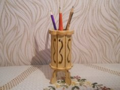 Laser Cut Wood Decorative Pencil Holder Free Vector