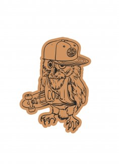 Skater Owl With Cap Laser Cut Engraving Template Free Vector
