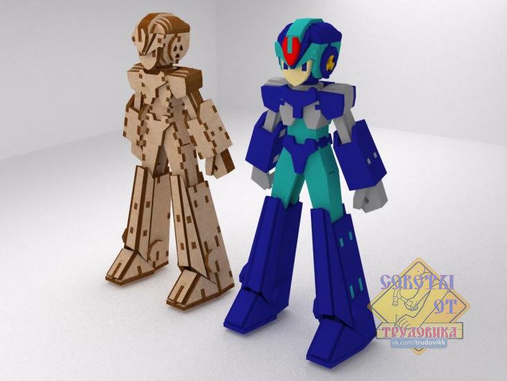 Laser Cut Mega Man Robot Free Vector