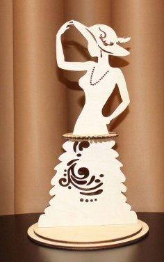 Laser Cut Lady In A Hat Fashion Napkin Holder Free Vector