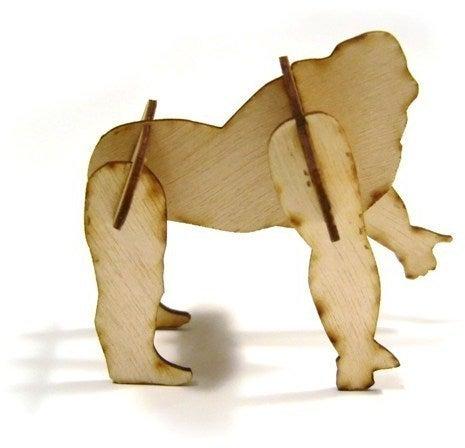 Laser Cut 3D Puzzle Gorilla 1mm Plywood DXF File