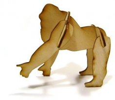 Laser Cut 3D Puzzle Gorilla 1mm Plywood DXF File