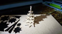 Laser Cut Christmas Tree Ornament For Reel Trees 110x110x2.5 DXF File