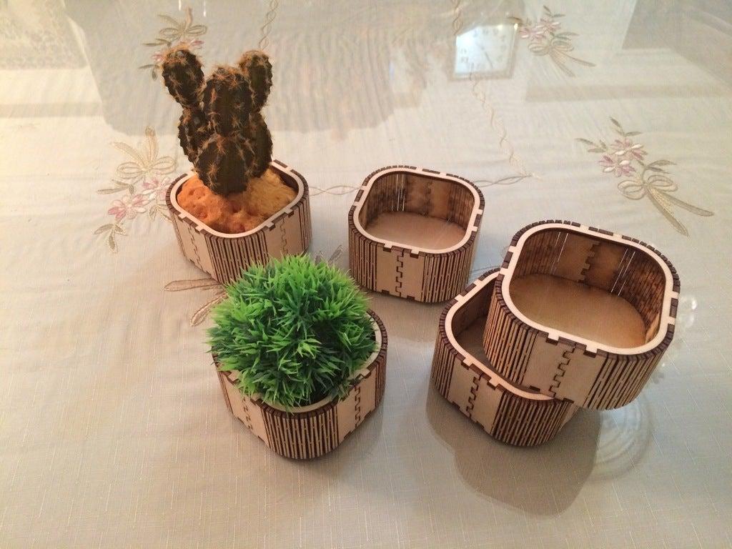 Laser Cut Wooden Mini Box Flower Box Vase DXF File