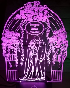 Couple Personalized 3d Illusion Lamp Laser Cutting Template DXF File