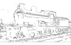 Vector Train Engine dxf File