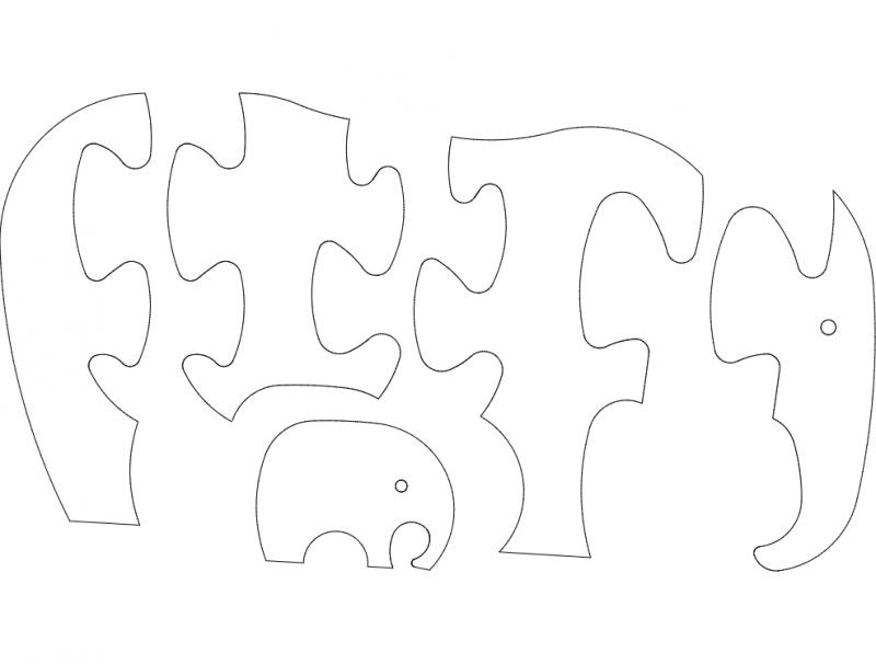 Elefant Jigsaw Puzzle dxf File