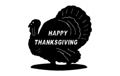 Turkey Happy Thanksgiving dxf File
