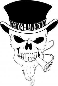 Harley Davidson Skull Vector Free Vector
