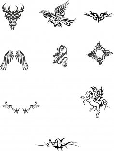 Tattoo Totem vector Set Free Vector
