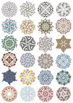 Lace Ornament Vector Set Free Vector