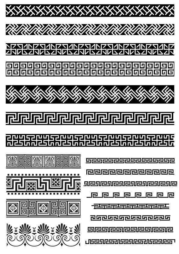 Lace Border Decor Elements Free Vector