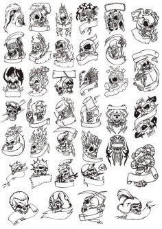 Terror Skull Head Vector Illustration Free Vector