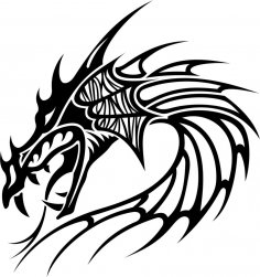 Tribal Dragon Tattoo Vector Free Vector