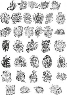 Abstract Floral Design Elements Free Vector