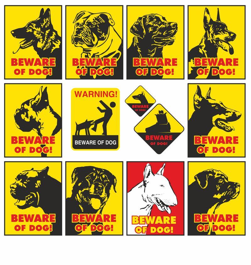 Beware of dog warning signs vector set