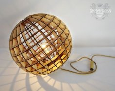 Laser Cut Wood Spherical Lamp DXF File
