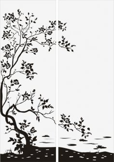 Floral Bush Tree Sandblast Pattern Free Vector