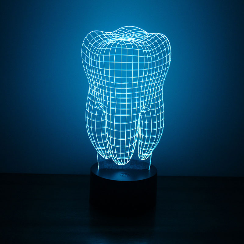 Tooth 3D LED Night Light Free Vector