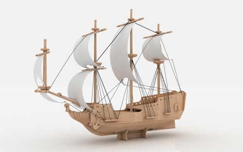 Pirate Ship 6mm Laser Cut DXF File