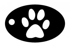 Dog Paw Key Chain dxf File