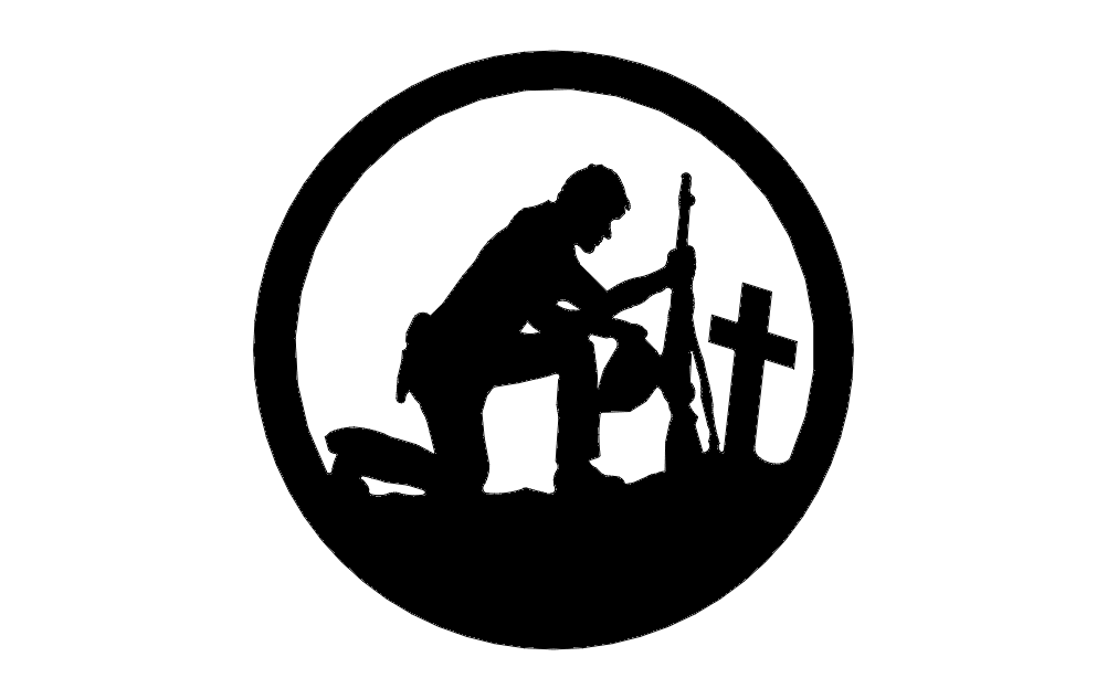 Soldier With Cross In A Circle dxf File