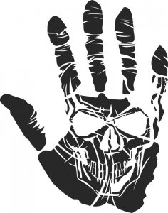 Sticker Skull Hand Tattoo Free Vector