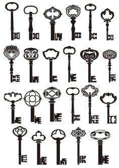 Vector illustration of vintage keys Free Vector