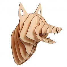 Fox head 3D Laser cutting vector plan DXF File