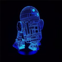 Star Wars R2-D2 Robot 3D LED Night Light Free Vector
