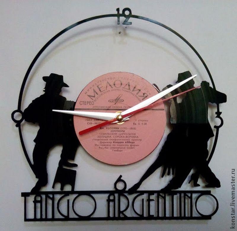Tango Argentino Vinyl Record Wall Clock DXF File
