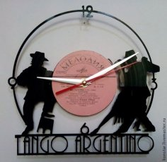 Tango Argentino Vinyl Record Wall Clock DXF File