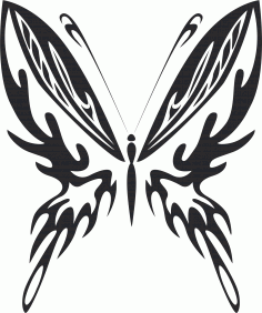 Tribal Butterfly Vector Art 23 DXF File
