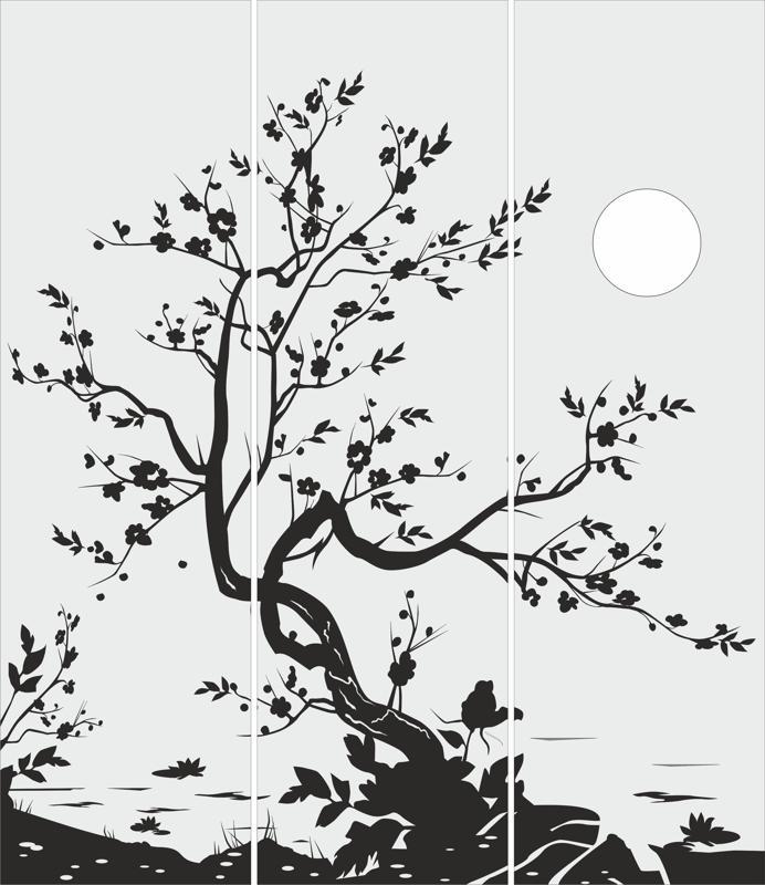 Tree Glass Door Design Free Vector