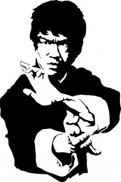 Bruce Lee Black and white vector dxf File